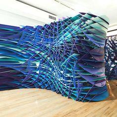 Parametric interior divider - dark teal, purple, and blue - creative temporary wall