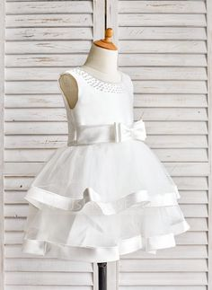 [US$ 34.99] A-Line/Princess Knee-length Flower Girl Dress - Satin/Tulle…