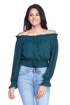 85a0a02c726b20 Smock Bottom Ruffle Off Shoulder Shirt Stylish Shirts