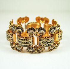 Vintage Bracelet Spanish Damascene Antique Jewelry