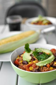Easy vegetarian quinoa chili. Lea made this for supper tonight and it was muy delicioso!