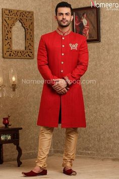 Buy Men's Sherwani-Latest Pakistani Red Sherwani for Groom 2021-Men's Wear With Dabka, Zari, Embroidery Work In USA, UK, Canada, Australia Visit Now : www.NameerabyFarooq.com or Call / Whatsapp : +1 732-910-5427 Sherwani Groom, Mens Sherwani, Work In Usa, Collar And Cuff, Cotton Silk, Dress Making, Party Wear, Pakistani, Ready To Wear