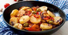 Recette de Poêlée minceur de légumes aux pommes de terre et olives. Facile et rapide à réaliser, goûteuse et diététique.