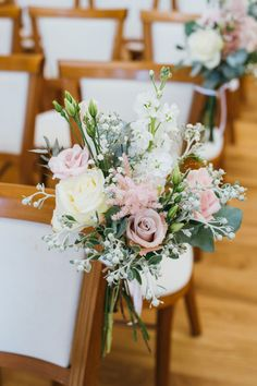 Boutique Blooms: Boutique Blooms Floral Design & Styling Delicate soft pink and white rose and peony ceremony pew end posy at Farnham Castle. Photo credit: Babb Photo