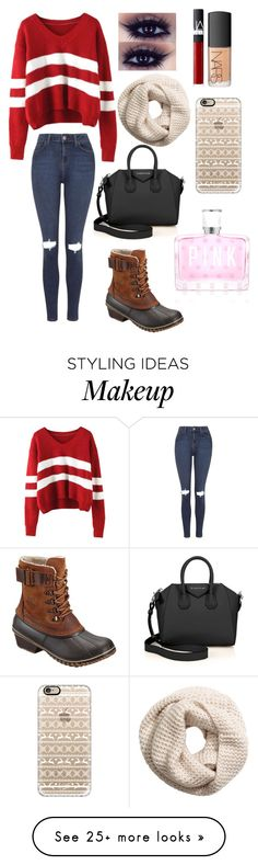 """""""Untitled #53"""" by marley-a-zook on Polyvore featuring Topshop, SOREL, H&M, NARS Cosmetics, Casetify, Victoria's Secret PINK and Givenchy"""