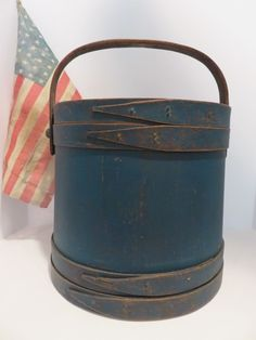 LARGE ANTIQUE MAINE FIRKIN IN SOLDIER BLUE PAINT, AAFA #Americana #unknown