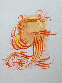 """Series Two, Original Capital """"G"""" in watercolor on cold press board, Series One, 2014."""
