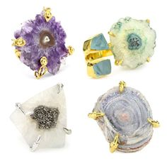 Natural Geode Stone Druzy Cocktail Rings