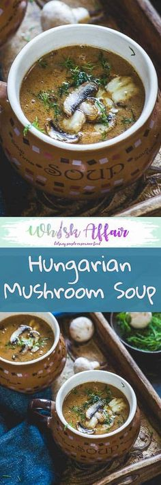 Hungarian Mushroom Soup is a delicious slightly tangy soup loaded with chunks of mushrooms in every bite and a creamy texture from the roux. Do try this easy recipe and I am sure you will fall in love with it. #Mushroom #Soup #Recipes via @WhiskAffair