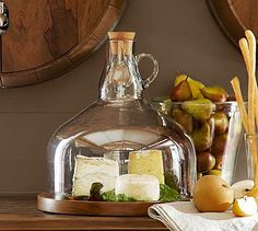 Wine Bottle Jug Cloche Cheese Platter #potterybarn Would also be fun to give as a gift to someone who has everything