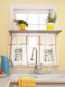 ... Use Kitchy Kitchen Dish Towels For Fun Window Treatments. Simply Clip  Drapery Hooks To The Top Edge Of A Dishtowel And Hang From A Cafe Curtain  Rod.