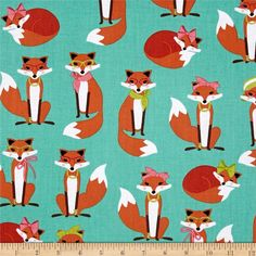 Kaufman Fabulous Foxes Large Fox Girls Aqua from @fabricdotcom  Designed by Andie Hanna for Robert Kaufman, this fabric is perfect for quilting, apparel, and home décor accents. Colors include aqua, green, white, brown, orange, black and pink.