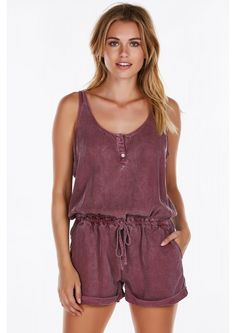 A casual chic romper perfect for a relaxing day out or lounging around indoors. Adorable buttons ...