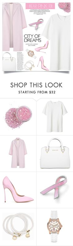 """I Wear Pink for..."" by fashion-bea-16 ❤ liked on Polyvore featuring Monki, Paul Smith, Michael Kors, Anja, Casadei, Bling Jewelry, Snö Of Sweden, GUESS and IWearPinkFor"