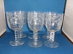 """Fostoria Manor Goblets w/Squared Stems, 6¼"""" c1931-1934. $100.00/Set of 6 at hoosiercollectibles on ebay, 3/20/16"""