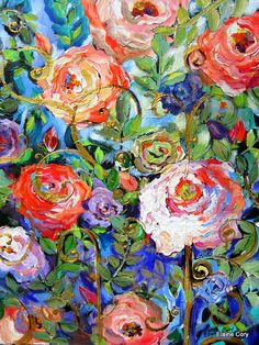 Roses and Fence 22 x 28 Original Painting by by ElainesHeartsong, $225.00