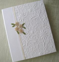 Wedding Photo Album White Floral Embossed with Handstitched Ivory Beaded Daisies, 8x10 via Etsy