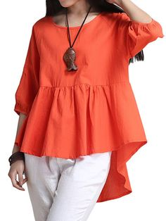 Women Solid Ruffles High Low Linen T-Shirt