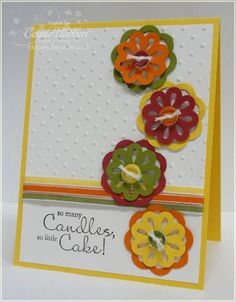 Stampin up birthday card. Multi-layer doily punch, polka dot texture folder, Bring On The Cake set.