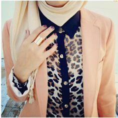animal printed shirt with blazer and hijab