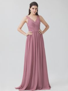 Budget friendly bridesmaid dresses like this dusty rose chiffon bridesmaid dress from For Her and For Him