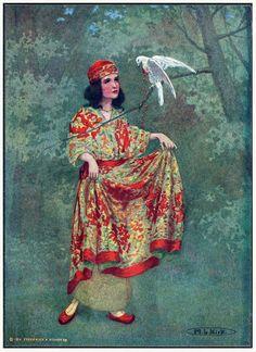 """oldbookillustrations: """"""""? В чем причина вашей печали """"мягко спросила принцесса.  Мария Луиза Кирк, из истории паломников Кентерберийских, пересказывали из Чосера от FJ Харви Darton, Нью-Йорк, 1914. (Источник: archive.org) """""""