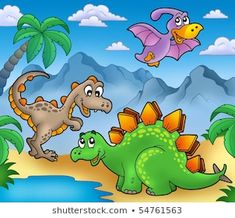 Landscape with dinosaurs 2 - color illustration. Dinosaur Drawing, Dinosaur Art, Painting Patterns, Fabric Painting, Toddler Bulletin Boards, Jungle Decorations, Cake Drawing, Dinosaur Coloring Pages, Murals For Kids