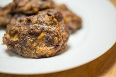 Coconut Chocolate Sweet Potato Cookies! Sweet Potato, cinnamon, vanilla, shredded coconut, chocolate, eggs, butter/ghee/C.O.