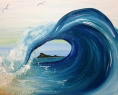 North Shore @ Pinot's Palette Woodmere (Cleveland Paint and Sip Art Studio) - It's where everyone surfs! Come catch a wave with us! Ocean Art, Ocean Waves, Foto Transfer, Wine And Canvas, Summer Painting, Wave Art, Paint And Sip, Cool Paintings, Wave Paintings