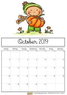 October 2019 printable calendar; boy with a pumpkin, and it is so very nearly pumpkin time! #printables #kidsprintables #2019calendar