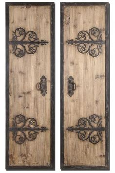 Abelardo Panels Wall Art / Wall Decor - Set of 2 These Oversized, Decorative Wall Panels Are Made Of Lightly Stained Rustic Wood With Wrought Iron Metal Details. Wrought Iron Wall Art, Decorative Wall Panels, Decorative Metal, Wall Decor Set, Tuscan Wall Decor, Tuscan Decorating, Panel Wall Art, Iron Doors, Home And Deco
