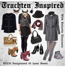 Creating from Bavarian/Austrian native clothing vibe from eclectic elements, from denim, elegant twee. Sculpture, Inspired, Denim, Elegant, Lace, Boots, Polyvore, How To Wear, Inspiration