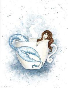 Teacup Tattoo, Amy Brown Fairies, Mermaids And Mermen, Bathroom Wall Art, White Bathroom, Merfolk, Mermaid Art, Fairy Art, Illustrations