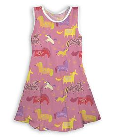 Take a look at this Rose Pink Fanciful Unicorns Tank Dress - Toddler & Girls today!