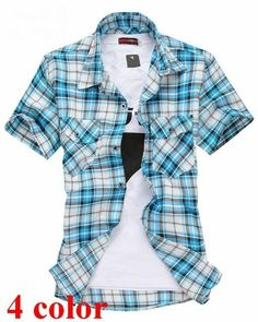 17fd576d1a82 2016 spring summer short-sleeved printed grid shirts men casual slim  fitdresslliy