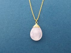 Simple Rose quartz Gold Silver Necklace Pink Stone Rose by Gliget