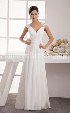 Lace Cap Sleeve V-neck Long Chiffon Dress