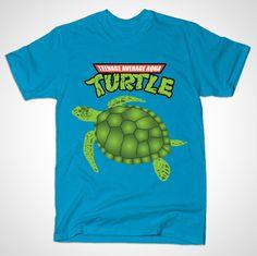 Teenage Average Aqua Turtle - $20 - https://teepublic.com/designs/53024