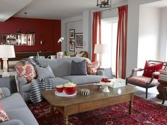 Sarah Richardson:  This room's red Persian rug inspired the color scheme and adds classic style to the room, but it's practical, too: its bold pattern will hide stains from spilled sodas and dropped popcorn.