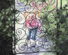 """Girl at the Garden Gate"" (watercolor, 16 x 24)"