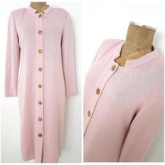 Vintage 80s Santana Knit Dress Size Medium Pink Sweater Straight Pencil Mita #Mita #SweaterDress