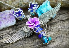 Celestial Angel Storm Pendant- handmade OOAK necklace polymer clay flower- unique cosplay fantasy wire wrap hidden treasury