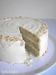 Lemon Poppyseed Cake with Almond Frosting  finally! not a box mix