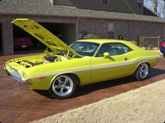 Yellow 1973 Dodge Challenger For Sale | MCG Marketplace. How do y'all like the color? #classic #muscle #cars