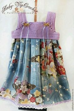 "palinha acroche "" For inspiration only. Crochet Yoke, Crochet Fabric, Crochet Girls, Crochet Baby Clothes, Crochet Blouse, Crochet For Kids, Knit Dress, Crochet Dresses, Toddler Dress"