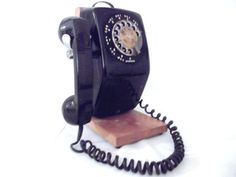 Black Rotary Wall Phone with a PARTY LINE!!