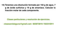 Ejercicio propuesto 14 de Concentración de disoluciones: fracción molar.