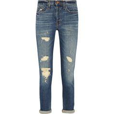 J Brand Georgia distressed mid-rise slim boyfriend jeans (£98) ❤ liked on Polyvore featuring jeans, mid denim, j brand boyfriend jeans, mid-rise jeans, slim fit jeans, distressed boyfriend jeans and destructed boyfriend jeans