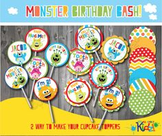 Instant Download Editable PDF Monster Birthday by ItsAllAboutKidz, $6.00