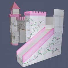 Hand Painted White Wooden Castle Loft Bunk Bed Sweetened With Flower Pattern Painting Built In Sliding With Gradation Pink Wooden Rail Panel With Bunk Beds And More Also Modern Bunk Bed, Adorable Fancy Childrens Bunk Beds With Slide For Comfortable Bedroom: Bedroom